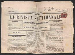 Regno - Vittorio Emanuele II - 2 Cent Su 2 Lire (34) - Su Intero Giornale  La Rivista Settimanale Del 23.3.1881 - Non Classificati