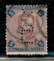 Regno - Umberto I - Perfin - L.D.C. - 5 Lire Umberto (64) - Usato - Dentellatura Difettosa - Non Classificati