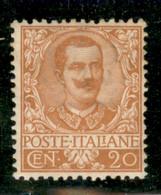 Regno - Vittorio Emanuele III - 1901 - 20 Cent Floreale (72) - Gomma Integra - Non Classificati