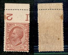 Regno - Vittorio Emanuele III - 1906 - 10 Cent Leoni (82) Bordo Foglio Con Dentellatura Superiore Spostata Di 1 Centimet - Non Classificati
