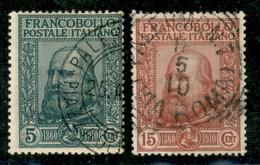 Regno - Vittorio Emanuele III - 1910 - Garibaldi (87+88) - Insieme Dei Primi Due Valori Usati - Chiavarello + Raybaudi - Non Classificati