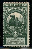 Regno - Vittorio Emanuele III - 1911 - 5 Cent Unità D'Italia (93a) - Dentellato 13 E 1/2 - Gomma Originale - Non Classificati