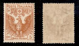 Regno - Vittorio Emanuele III - 1916 - 20 Cent + 5 Croce Rossa (105) - Gomma Originale (40) - Non Classificati
