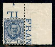 Regno - Vittorio Emanuele III - 1926 - 1,25 Lire Floreale (202g) - Ornato Spostato - Angolo Di Foglio - Gomma Integra - Non Classificati
