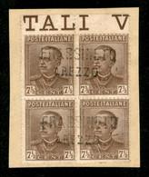 Regno - Vittorio Emanuele III - Frassineto Arezzo - Quartina Del 7 E 1/2 Cent Parmeggiani (224) - Usata Su Frammento - Non Classificati