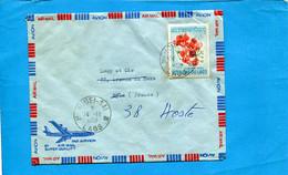 Marcophilie-laos-> Françe-cad-Mauhuei Sai-1968-stamps Thematic- N°152 Flower - Laos
