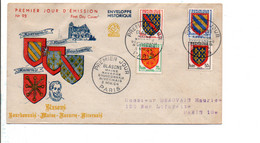 FDC 1954 SERIE DES BLASONS - 1950-1959