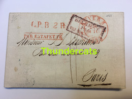 LETTRE 1833 LPB2R ANVERS PARIS BELGIQUE PAR VALENCIENNES PAR ESTAFETTE - 1801-1848: Precursors XIX