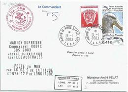 YT 328 - Albatros Timide - Posté à Bord Du MD - Martin De Viviès - Saint Paul Amsterdam - 15/01/2003 - Lettres & Documents