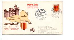 FDC 1955 BLASON DU ROUSSILLON - 1950-1959