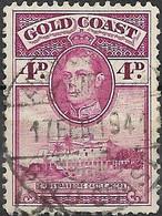 GOLD COAST 1938 Christiansborg Castle - 4d - Mauve FU - Gold Coast (...-1957)