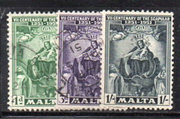 APR1132 - MALTA 1951 , Serie N. 225/227  Usata  (2380) - Malta