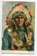 INDIENS D'Amérique 77-10   Portrait Chef  Indien Paré De Ses Plumes Coiffure  1908 écrite Salt Lake  Utha    D08 2021 - Native Americans