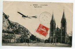 76 ROUEN Aviation Avion Passant Place Eglise St Paul écrite En 1912  D08 2021 - Rouen