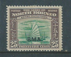 North Borneo GVIR 1945  BMA Opt, , 25 Cents MH * - Bornéo Du Nord (...-1963)