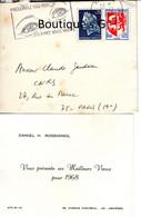 Carte De Visite Daniel H Rossignol Voeux 1968 Asnieres Enveloppes Claude Gaudeau Paris - Visiting Cards