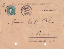 SUISSE 1884 LETTRE DE BULLE AVEC CACHET AMBULANT - Briefe U. Dokumente