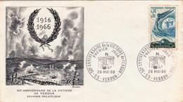 FDC WW1 1916 - 1966 50è Anniversaire Victoire De Verdun Premier Jour 50 Cherbourg Cachets - 1960-1969