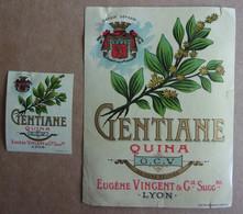 Véritable Etiquette Ancienne GENTIANE QUINA Eugène Vincent, Lyon (lot De 2 étiquettes) - Other