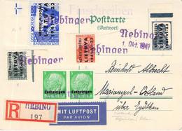 Kuriosum Neningen (Lothr.)>Marianyol (Ostl.) Litauen Briefmarken Beigeklebt 1.Okt.1941 - Occupation 1938-45