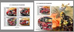 GUINEA REP. 2021 MNH Fire Engines Feuerwehr Fahrzeuge Camions De Pompiers M/S+S/S - OFFICIAL ISSUE - DHQ2117 - Bombero