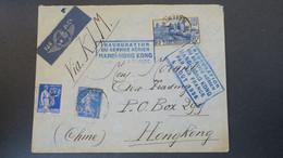 Lettre France  Pour Kowloon HongKong Chine 1938  Inauguration Ligne Aerienne Hanoï HongKong Air France - Air Post