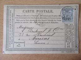 France - Timbre Sage 15c Sur Précurseur Vers Amiens - Oblitéré CàD Abbeville 1877 - 1877-1920: Période Semi Moderne
