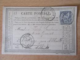 France - Timbre Sage 15c Sur Précurseur Vers L'Heure (Caours) Près Abbeville - Oblitéré CàD Ailly-Sur-Noye 1877 - 1877-1920: Période Semi Moderne
