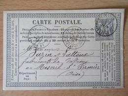 France - Timbre Sage 15c Sur Précurseur Vers Le Mesnil St Firmin - Oblitéré CàD Paris Chapelle St Denis 1877 - 1877-1920: Semi-Moderne