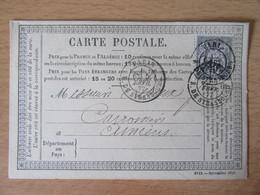 France - Timbre Sage 15c Sur Précurseur Vers Amiens - Oblitéré CàD Double Paris Rue De Strasbourg 1877 - 1877-1920: Semi-Moderne