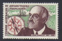 T.A.A.F Timbre Anniversaire Disparition En Mer Commandant Charcot  25f. Vert Brun-rouge Et Rouge  N° 19** Neuf - Nuovi
