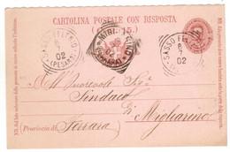 WQ306    Regno 1902 Annullo Tondo Riquadrato SASSOFELTRIO (Pesaro) E MIGLIARINO (Ferrara) Su Cartolina Risposta 7 1/2 C. - Marcofilía