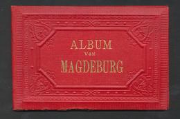 Leporello-Album Magdeburg, Lithographien Von Kaiserstrasse, Central Bahnhof, Realschule, Wilhelmsstrasse, Etc - Lithographien