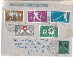 SUISSE   1951  PLI AERIEN DE WENGEN POUR NEW YORK - Storia Postale