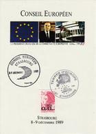 RARE - Strasbourg - Conseil Européen 8- 9 Décembre 1989 Ensemble De 2 Documents - Briefe U. Dokumente