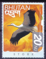 Bhutan 1999 MNH, White Stork, Water Birds - Cuckoos & Turacos