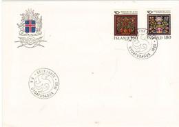 Iceland Island 1980 Norden: Craftsmanship, Cabinet Door - Cushion Plate, Mi 556-557 FDC - Lettres & Documents