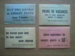 LOT DE 4 BILLETS TRACT DE L'UNION DES JEUNESSES COMMUNISTES DE FRANCE - Documents Historiques