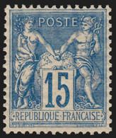 N°101, Sage 15c Bleu Papier Quadrillé, Neuf * - SUPERBE - 1876-1898 Sage (Tipo II)