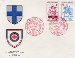 FRANCE :   FDC 1278 1279  Croix-Rouge Saint-Martin Oblitération Marseille 1960 - 1960-1969