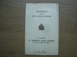 MENU VILLE DE BOUGIE HONNEUR DE ROGER LEONARD GOUVERNEUR DE L'ALGERIE 1954 - Menú