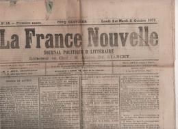 LA FRANCE NOUVELLE 02 10 1871 - COMMUNARDS EN SUISSE & A LONDRES - VERSAILLES ORANGERIE FEDERES INCARCERES - METZ - MARX - 1850 - 1899