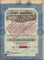 UNION AGRICOLE CHIMIQUE ET ELECTRIQUE UNAC -PART SOCIALE - 1936 - Elettricità & Gas