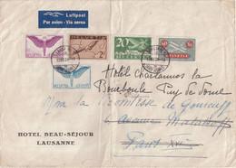 SUISSE : PA . AFFRANCHISSEMENT A 4,35 F . DE LAUSANNE . POUR PARIE . REEXPEDIEE A LA BOURBOULE . 1938 . ( PLIEE ) . - Briefe U. Dokumente