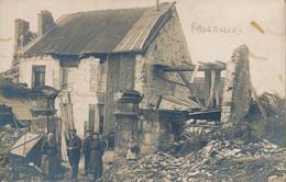 51) FAVEROLLES : Carte-Photo - Au Lendemain De La Guerre, Maison En Ruine (1919) - Otros Municipios