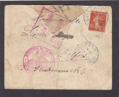 ALSACE RECONQUISE. LETTRE  DE DANNEMARIE POUR BELFORT, OUVERTE  PAR LA CENSURE MILITAIRE. - Oorlog 1914-18