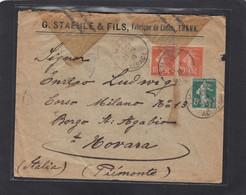 ALSACE RECONQUISE. LETTRE  DE THANN POUR NOVARRA,ITALIE, OUVERTE  PAR LA CENSURE MILITAIRE. - Oorlog 1914-18