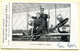 MONS-CASTEAU-AVIATION - Tour De Belgique 1911 - Le Comte D'Hespel Sur Biplan (1ère étape Bruxelles-Camp De Casteau) - Meetings