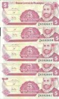 NICARAGUA 5 CORDOBAS ND1991 UNC P 168 ( 5 Billets ) - Nicaragua