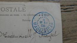 Cachet Bleu MADAGASCAR - 78 Sur Carte Postale ................ 201101d-4283 - Cartas